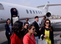 Madhuri Dixit along with others arrives at Saifai airport in Lucknow