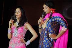 Mallika Sherawat and comedian Sunil Grover perform at Saifai Mahotsav in Etawah district
