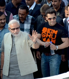 Narendra Modi and Salman Khan during the Uttarayan Festival in Ahmedabad