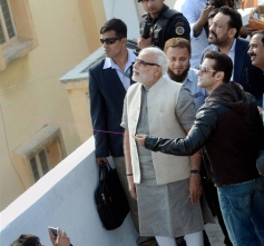 Narendra Modi watches Salman Khan fly a kite during the kite festival Uttarayan