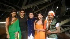 Parineeti Chopra and Sidharth Malhotra with Shilpa Shetty and Sajid Khan on the set of Nach Baliye 6