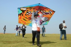 Participants flying their kites during the 26th edition of International Kite festival