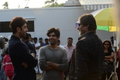 Ranbir Kapoor and Amitabh Bachchan still from film Bhoothnath Returns on the sets