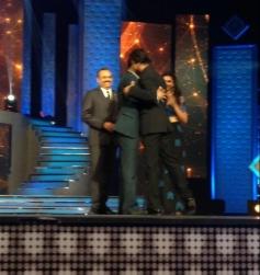 Shahrukh Khan and Salman Khan hugs eachother at the Renault Star Guild Awards 2014