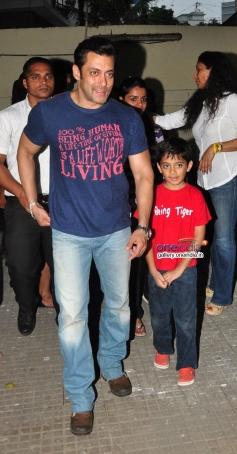 Salman Khan arrive at the special screening of film Jai Ho