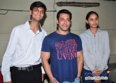 Salman Khan and Hasleen Kaur during the special screening of his film Jai Ho for NGO Kids