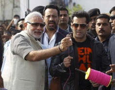 Salman Khan with BJPs Prime ministerial candidate fly kites during the Makar Sankranti celebration