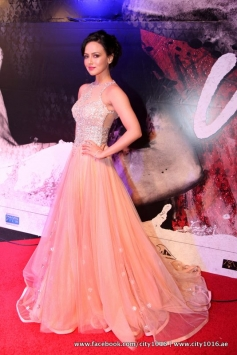 Sana Khan poses during the redcarpet of Jai Ho film premiere at Dubai