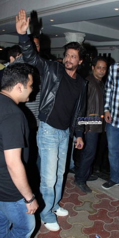 Shahrukh Khan waves during the bar launch