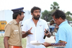 Soori and RT Neason on the sets of film Jilla
