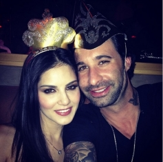Sunny Leone along with her husband Daniel Webber celebrates New Year 2014 at Los Angeles