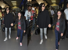 Sushmita Sen with her daughter snapped at Airport