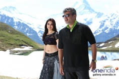 Tamanna and Ajith Kumar still from film Veeram