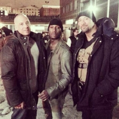 Tyrese Gibson with Vin Diesal and The Rock on the sets of Fast and Furious 7 at Atlanta