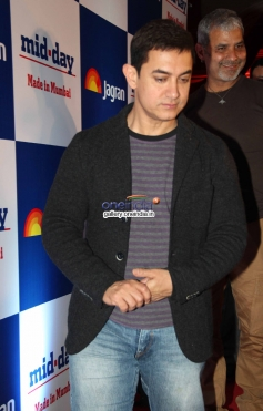 Aamir Khan arrives at Mid Day newspaper's relaunch party