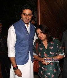 Abhishek Bachchan with Farah Khan at his 38th birthday bash