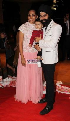 AD Singh with wife at Siddharth Kannan and Neha Agarwal wedding reception