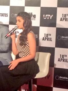 Alia Bhatt addresing media at 2 States trailer launch