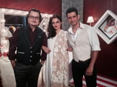Anupam Kher, Rekha and Sharman Joshi on the sets of Super Nani