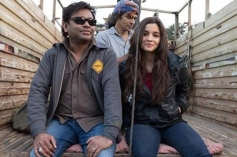 AR Rahman, Imtiaz Ali and Alia Bhatt on the sets of film Highway