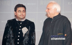 AR Rahman and Kapil Sibal at their music album Raunaq launch