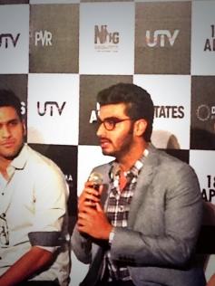 Arjun Kapoor addressing media at 2 States trailer launch