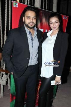 Ayesha Takia with her hubby at Lakshmi film success bash