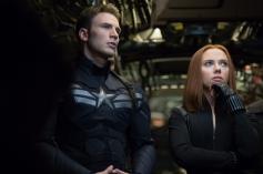 Chris Evans and Scarlett Johansson still from film Captain America The Winter Soldier