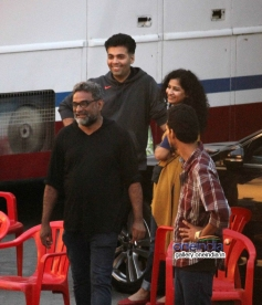 R Balki with Karan Johar and Dhanush on the sets of his untitled movie
