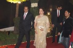Dharmendra and Hema Malini during their daughter Ahana Deol's Delhi wedding reception