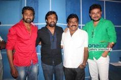 Dhruva Sarja, Chiranjeevi Sarja, Producer K Manju at Rudra Tandava Movie Press Meet