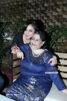 Divya Dutta with her mother at Lakshmi film success bash