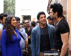 Farhan Akhtar and Vidya Balan conversation with Manish Paul on the sets of Nach Baliye 6