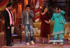 Farhan Akhtar and Vidya Balan with Kapil Sharma on the sets of Comedy Nights with Kapil
