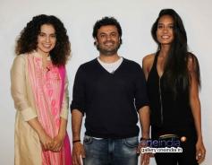 Kangna Ranaut, Vikas Bahl and Lisa Hadyon promote Queen at Mehboob Studio