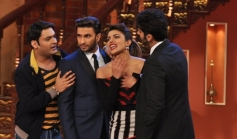 Kapil Sharma with Gunday film starcast on the sets of Comedy Nights with Kapil