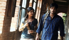 Mrudhula Basker and Nakul still from film Vallinam
