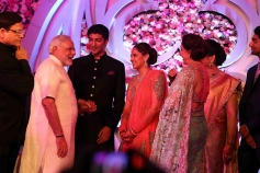 Narendra Modi arrived to bless the couple Ahana Deol and Vaibhav Vohra on their wedding