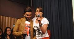 Ranveer Singh with Priyanka Chopra during Gunday promotion at Welingkar College