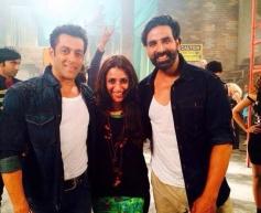 Salman Khan and Akshay Kumar at Fugly film title song shoot