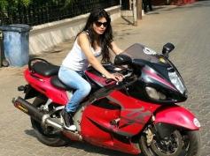 Sherlyn Chopra still on bike
