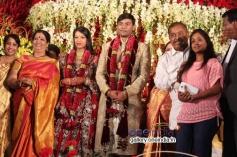 Girija Lokesh, Hamsalekha at SV Babu son Sanjay Babu marriage reception with Soundarya