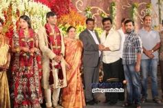 Rockline Venkatesh at SV Babu son Sanjay Babu marriage reception with Soundarya