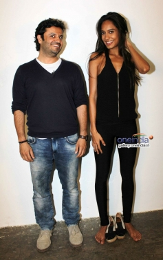 Vikas Bahl and Lisa Haydon during the film Queen promotion at Mehboob Studio