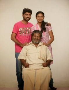 Vimal, Rajkiran and Lakshmi Menon still from film Manja Pai