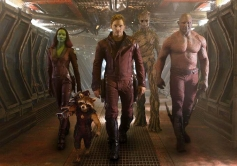 Zoe Saldana, Chris Pratt and Dave Bautista still from Guardians of Galaxy