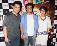 Aamir Khan with wife Kiran Rao and Vikas Bahl at Queen film special screening