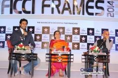 Abhishek Bachchan, Bhawana Somaaya and Vijay Krishna during the FICCI Frames 2014 - Day 2