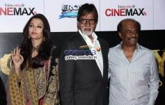 Aishwarya Rai, Amitabh Bachchan with Rajinikanth at Kochadaiyaan Movie Launch