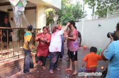 Bappi Lahiri with his family celebrates Holi 2014